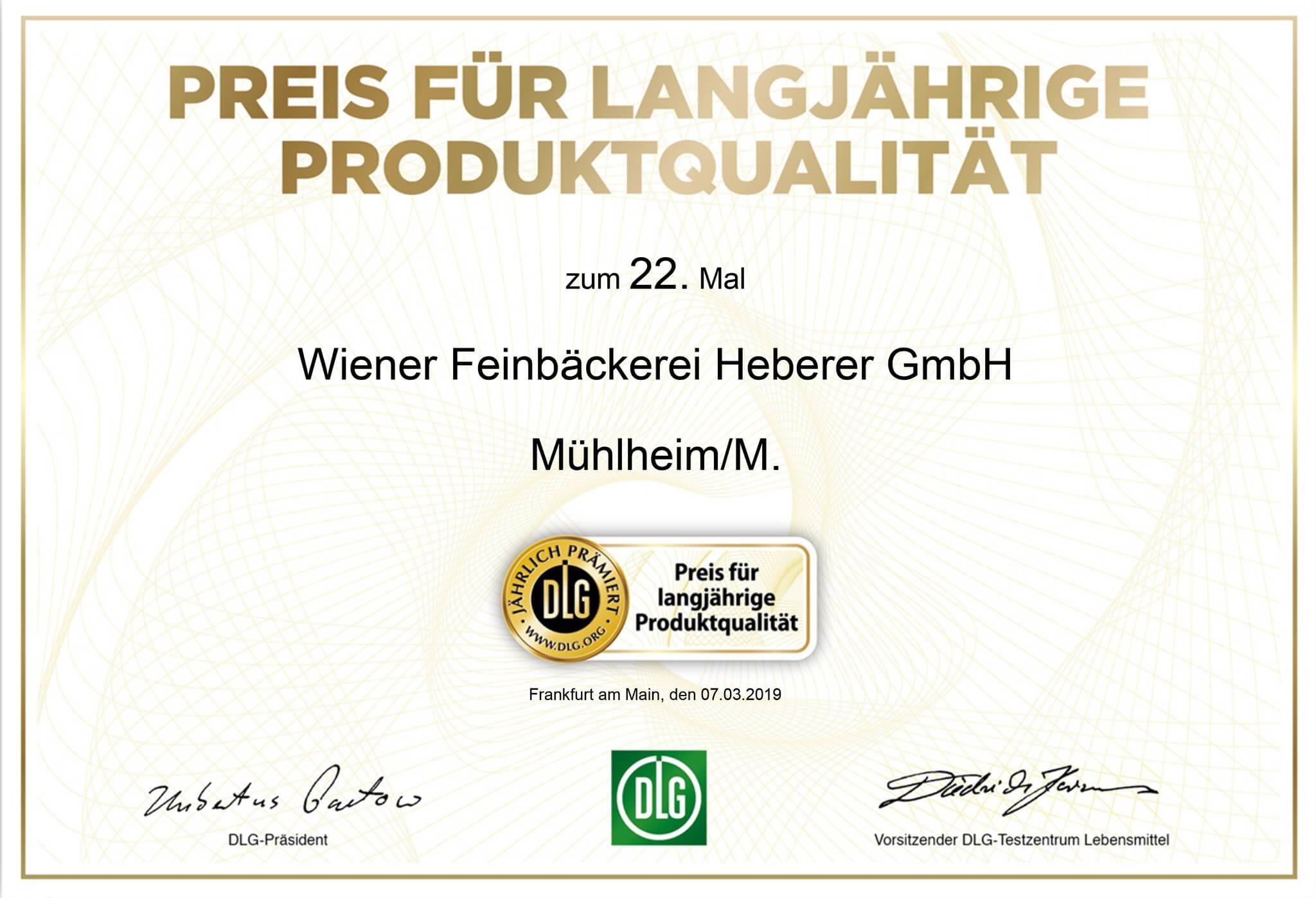 DLG Zertifikat fuer langjaehrige Produktqualitaet 2019