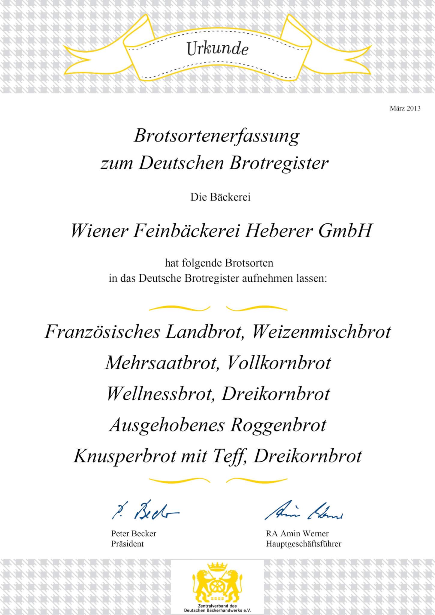 Urkunden Brotregister 2013